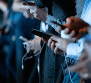People on mobile phones