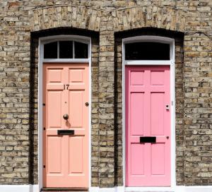 Pink house doors