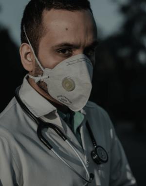 Person in covid mask